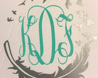 Feather monogrammed decal