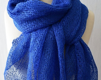 Cobalt Blue Linen Shawl  Blue Knitted Natural Summer Scarf Wrap Natural Flax