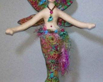 ON SALE: Enchanting wall style winged fiber sculpted fantasy mermaid