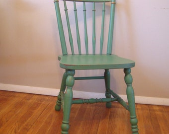 Lovely Custom Painted Distressed Wood Farm Chair, Vintage ...