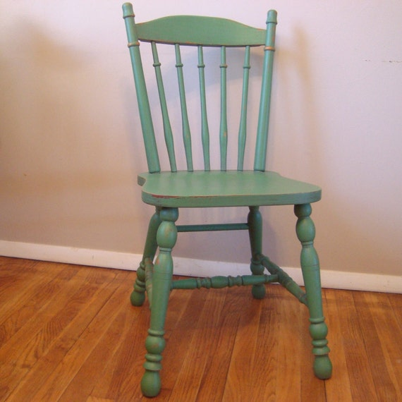 Antique Wooden Kitchen Chairs: Custom Painted Distressed Wood Farm Chair Vintage Farmhouse