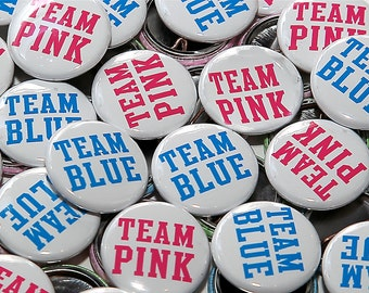 "25 Baby Shower 1"" Pinbacks - Team Pink Team Blue - Style 2 - Gender Reveal Party Favors"