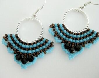 Beaded Earrings /  Brick Stitch Earrings /  Seed Bead Earrings in Brown and Blue  / Beadwork / Beadwoven Earrings / Hoop Earrings