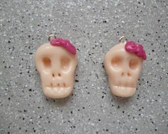 2 charms heads skull, skull in fimo 20 x 22 mm handmade