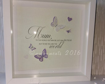 Mother's World Quote Wooden Picture Box Frame - Perfect Mother's Day Gift