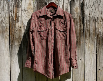 vintage authentic western jcpenney pearl snap button down