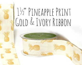 """1.5"""" Cotton Gold Pineapples Print Ribbon, Wide Gold Ribbon, White and Gold Gift Ribbon, Gift Wrap, Gift Ribbon, Party Supplies, Craft Supply"""