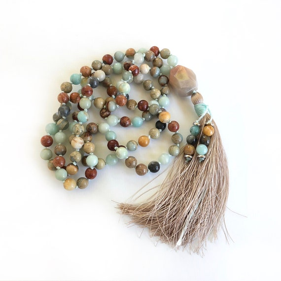 POSITIVE OUTLOOK - Mala Beads - African Opal Mala Necklace - Amazonite Mala - Orange Moonstone Guru Bead - 108 Mala Beads Hand knotted