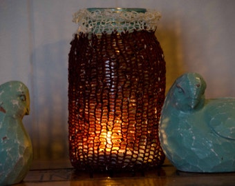 "Knit Mason Jar Cozy / Candle Cozy  Burnt Orange with White and Black Flecks White lace Topping  Great for Bath Supplies 8""around Only 8.00"
