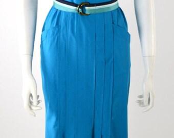 ON SALE VTG 80s Dress: Summer 80s Dress // Cotton Blue Dress // Avant Garde Dress // Sasson // Vintage 80s Dress