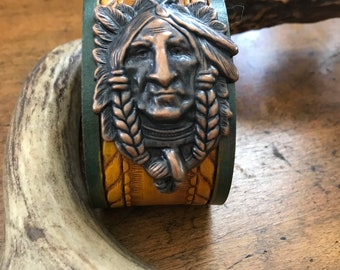 Leather Cuff Bracelet with Native American