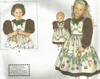 """Simplicity 8829 UNCUT Daisy Kingdom Toddler and Girls Dress with Pinafore and Matching 18"""" Doll  Pattern - Sizes 3-8"""