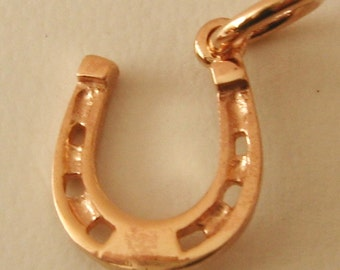 Genuine SOLID 9K 9ct ROSE GOLD Horse Shoe Good Luck charm/pendant