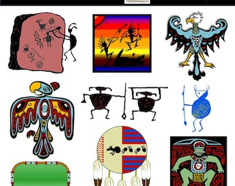 Clipart - Tribal Elements - American Indian Digital Clipart - Digital Clip Art - Personal or Commercial Use Instant Download