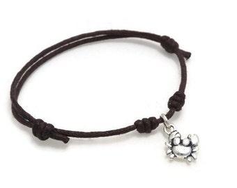 Crab Bracelet, Crab Anklet, Crab Jewelry, Crab Jewellery, Animal Bracelet, Wish Bracelet, Waxed Cord, Sliding Knot, Gift, Charm Bracelet