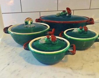 Majolica Casserole, Mushroom Decor, Fall Decor, Belgian Tellurite Pottery 1930s, Made in Belgium, Forest Green Glazed Pottery