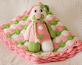 Handmade Crochet Blanket With Matching Plush Toy