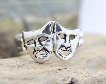 Handmade Theater Drama Mask Sterling Silver Ring size 4 to 14 Comedy Tragedy see-through