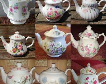Job Lot of 10 (10 pcs) **SMALL** Vintage Mismatched Teapots Set Floral Chintz - Tableware Mad Hatters Party Wedding Crockery Tea Room Cafe