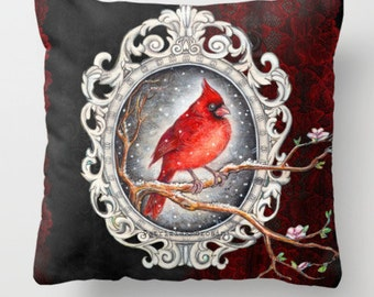 "Throw Pillow Cover  with pillow insert Indoor """" Red cardinal with lace """".PRINT art.. animal - woodland art - fine -room - nursery - babies"