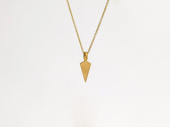 Mens 22k gold unique necklace gold arrowhead pendant aloadofball Image collections