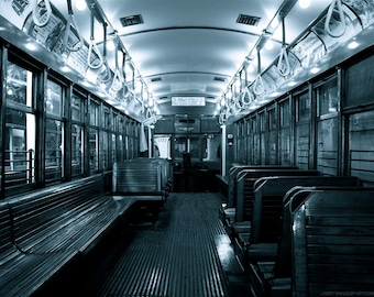 Trolley Car Aisle Photo - Black and White Old Streetcar Photograph - Monochrome Photo - Vintage Transportation Wall Art by Liberty Images
