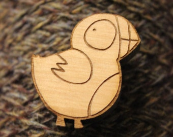 Puffin Wooden Brooch. Made in Orkney, Scotland
