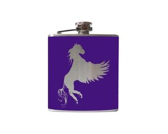 Pegasus FLASK- alcohol, liquor, booze, wedding, bridal party, hip pocket- Personalized Custom - YOU pick COLOR