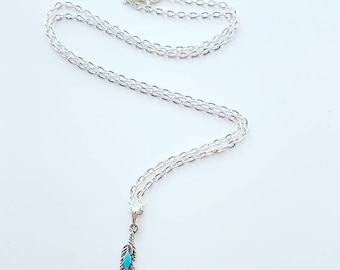 Boho silver feather necklace
