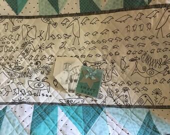 Baby quilt handmade Schumacher Aviary fabric aqua grey white black with handmade baby card