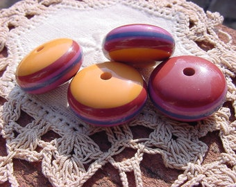 Autumn Multi Colored Striped Vintage Lucite Beads