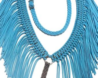 Turquoise western Fringe breast collar, horse tack, paracord horse tack,  turquoise horse tack, paracord fringe breast collar, breast collar