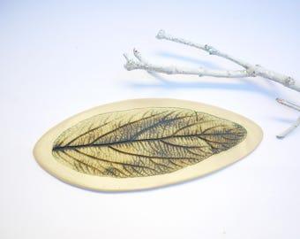 Feuille brun- vert ,plaque céramique, art céramique,art feerique,rhododendron, art de la table,grès blanc poterie,  plat de sorciere