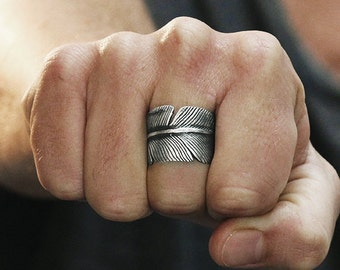 Silver Feather Ring Mens Wedding Band Man Jewelry