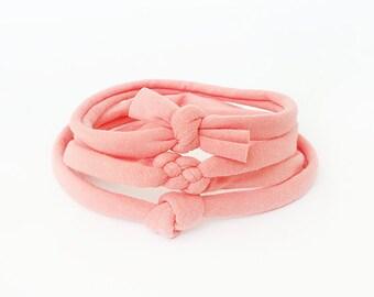Baby Knot Headband,  Skinny Knot Headband / Peach