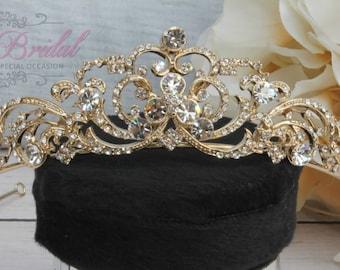 Gold Swarovski Tiara, QuinceaneraTiara, CrystalTiara ,Wedding Tiara, Wedding Headpiece, Bridal Tiara, Crystal Headpiece, Bridal Headpiece
