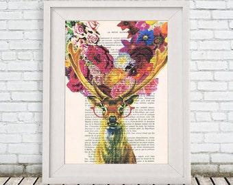 Deer Antlers Print, Stag Head, Deer print, Gift for Christmas, Flower Artwork,Animal Print, Merry Everything,Happy Always,Joy Peace and Love