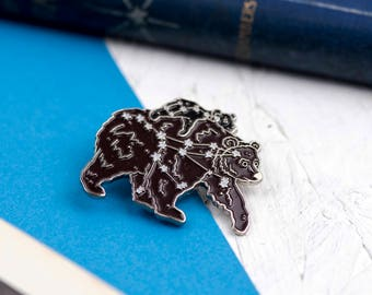 New Mother Gift BEARS ENAMEL PIN Set Star Constellations Ursa Major Minor Glow in the Dark Astronomy Gift Ideas Flair Game Big Little Dipper