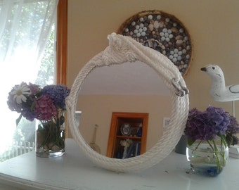 Rope Mirror 14 inches Round Coastal Mirror White Nylon Rope Spiral Rosette Design Nautical Clasp Beachy Decor Coastal Living