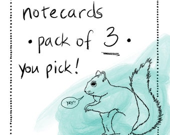 Notecards - Multipack of 3 - you pick!