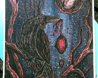 The Raven King - illustration art print, mixed media with watercolor and acrylic inks