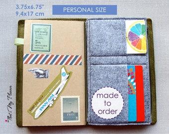 Traveler's Notebook insert Personal size - Felt Zip Up Wallet Card Holder - Pencil Case - Midori Insert
