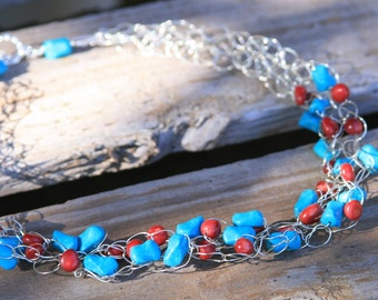 Handmade Sterling Silver Crocheted Necklace with Red Seeds and Turquoise Beads *