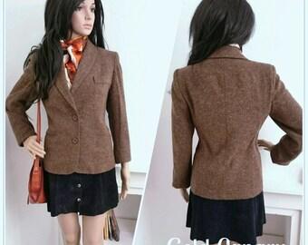 Vintage 70s Textured Brown Tweed Wool Jacket Riding Hacking Boho / UK 10 12 / EU 38 40 / US 6 8