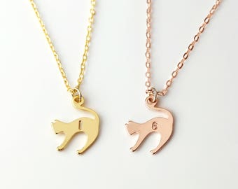Kitty Cat Necklace Best Friend Necklace Monogram Initial Necklace Dainty Kitty Pendant Cat Lover Necklace Women New Pet Gift For Her - SCN-S