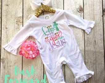 Forget Eggs Give Me Jesus Ruffle Romper, Easter Romper, Spring Colors,Christian