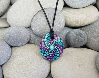 Turquoise Purple Mandala Necklace  - Painted Rock Jewelry - Hand-Painted Mandala Rock - Paint Rock - Mandala Pendant - Chakra - Meditation