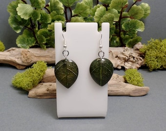 Green Leaf Resin Earrings - Nature Jewelry - Leaf Jewelry - Spring Leaf - Plant Earrings - Plant Leaf - Free US Shipping