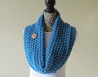"""CROCHET PATTERN Chunky Cowl with Button, Neck Warmer Scarf, Shoulder Wrap, Made in Canada, Easy Crochet Pattern, """"The Uptown Cowl"""""""