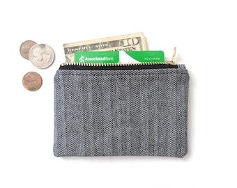 Slim Wallet Coin Purse Zipper Pouch Black Herringbone